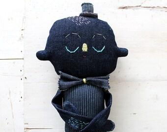 Textile Soft Sculpture Denim Character OOAK Art Doll No.5