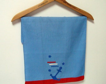 Nautical Tea Towel Boat Anchor Applique Vintage Red White Blue Stitchery Tip Towel