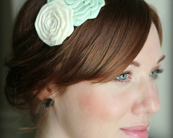 Mint and Ivory Folded Rose Headband for Women and Girls