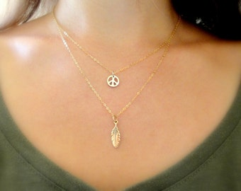 Tiny Peace Bronze Charm on 14K Gold Filled Necklace