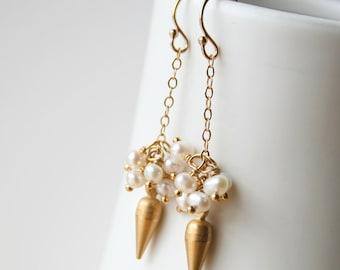 Bridesmaid Earrings, Pearl Earrings, Edgy Pearl Earrings, Spike Earrings