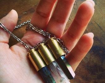 Triple Quartz Crystal Bullet Necklace/ Titanium Quartz Bullet Necklace/ Quartz Crystal Necklace/ Bullet Pendant/ Natural Gem Stone/