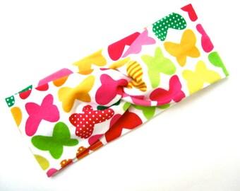 Twisted Turban headband Butterflies  Print