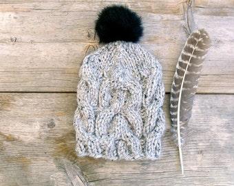Women's Cable Knit Hat in Grey Tweed with Black Faux Fur Pom Pom, Chunky Hat, Slouchy Beanie Pom Pom Hat Hat with Pom Pom Winter Accessories
