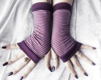 Royal Rebel Fingerless Gloves | Plum Purple Lavender Lilac Striped Bamboo Cotton | Yoga Belly Dance Dark Tribal Fusion Goth Tarot Bohemian