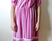 Vintage Pink Striped Dress Size Medium Large Gift For Her