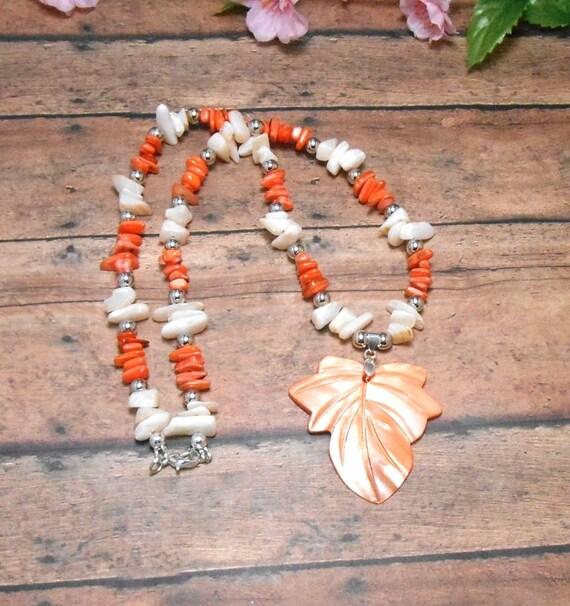 Orange & White Shell Leaf Necklace - Fall Beach Necklace - Beaded Necklace - Shell Necklace - Free US Shipping