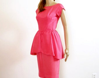 Vintage 1950s Peplum Dress Hot Pink Wiggle Dress / Extra Extra Small