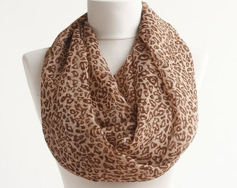 Small pattern leopard scarf infinity loop scarfs brown animal print summer women scarves