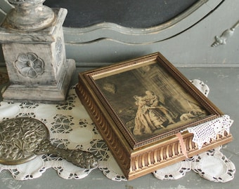 Vintage Gilt Wood Jewelry Box with French Renaissance Print    SALE - was 68.00