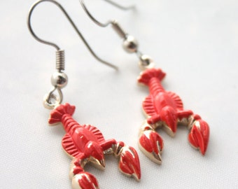 Vintage 1950s 60s Surrealist Lobster Enamel Earrings