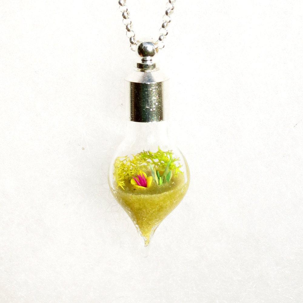 terrarium jewelry yellow necklace miniature garden by