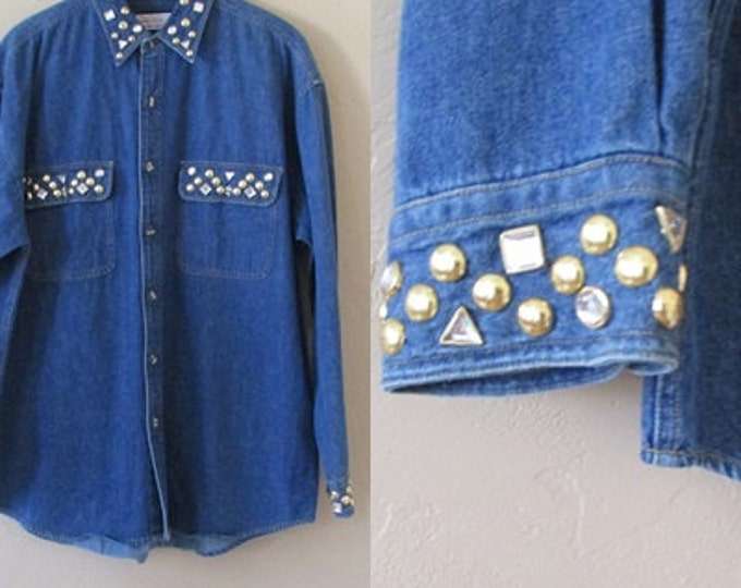 denim bedazzled vintage 90s button up long chambray cotton shirt rhinestone americana top - large L