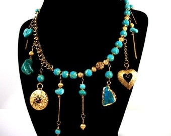 Turquoise Gold Wild Charm Tassel Necklace - Jewelry Gift Ideas for Women