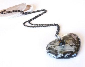 Stone Heart Necklace, Heart Gemstone Pendant, Rhodonite Gem, Grey, Black, Pink, Gemstone Jewelry