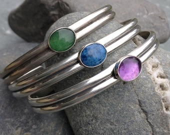 Sister cuff sterling silver bracelet with customized message and your choice of gemstone by Saucy Jewelry