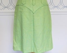 Rare H Bar C Ranchwear Skirt | Lime Green A Line Knee Length | Medium Woman