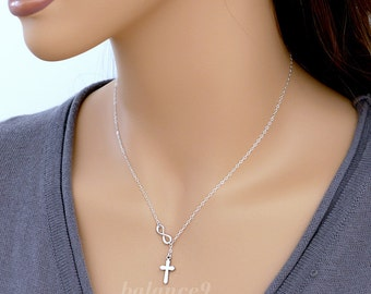 Infinity cross necklace gift, dainty necklace small charm lariat, sterling silver / gold filled chain, holidays gift jewelry, by balance9