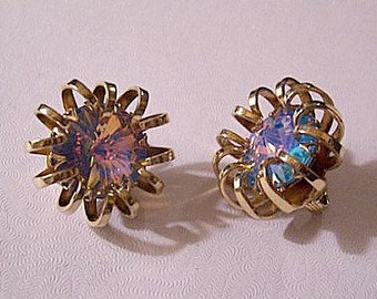 Blue Pink Crystal Clip On Earrings Gold Tone Vintage Curled Ribs Swarovski Aurora Borealis Rivioli Round Reflective Stone