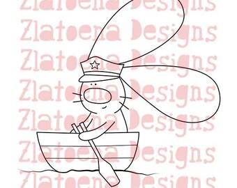Captain Digital stamp, Nautical digital stamp, Nautical digi image, Nautical digi stamp, Sailor digi stamp, Vacation Digi stamp, Bunny image