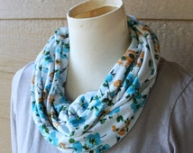 Infinity Scarf - Blue and Mustard Flowers - T-Shirt Jersey Scarf / Cowl - Light Circle Scarf - Trendy Woman's Fall Scarf - Ready to Ship