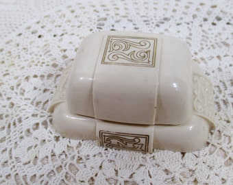 Ivory Celluloid Ring Presentation, Display Box - Vintage Wedding, Bride, Anniversary, Christmas, Keepsake