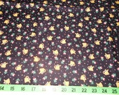 "Vintage Calico Cotton Fabric Black Yellow Watering Cans Tiny Pink Tulips Fat Quarter 22"" x 25"""