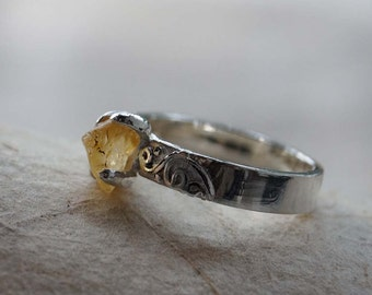 Yellow Sapphire Engagement Ring, Rock Sapphire Ring, Modern Tribal Ring, Sterling Silver Ring