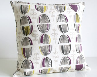 Throw Pillow Cover, 16x16 Decorative Pillow Cover, 16x16 Pillow Sham, 16 Inch Cushion Cover - Hourglass Aubergine