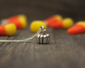 Pumpkin Necklace - Halloween Jewelry . 925 Sterling Silver . Gardener & Naturalist Gift Ideas for Her . Fall, Autumn, Harvest Themed