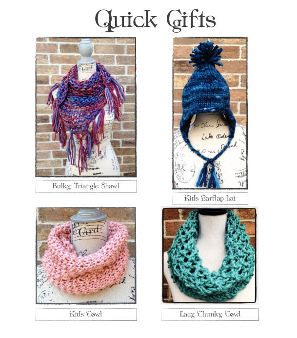 Knitting Patterns Christmas Gifts : Quick Gifts to Knit DIY Christmas Scarf Hat Shawl Beginner How