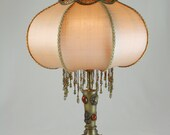 SOLD  - Vintage Lamp - Moroccan - Turkish Lantern - Jeweled Brass Base - Hand-sewn, Hand-beaded Shades - MAGNIFICENT