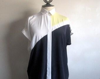 Vintage 1980s Summer Blouse Rodier White Blue Yellow Color Block Cap Sleeve Shift Blouse Medium
