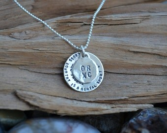 PERSONALIZED STERLING SILVER  Disc Necklace - Sweet 16, Mothers Day, Anniversary, School Sport Team , Graduation, Birthdays, Teacher Wedding