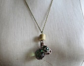 Triple Fishing Float Pendant Found Object Necklace - Clear, Green, and Amber