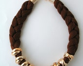 Brown statement necklace - rope necklace - braided necklace