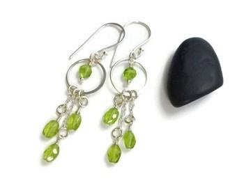 Peridot Earrings, Silver Jewelry, Green Stone Earrings, Peridot Jewelry, Dangle, Birthstone Jewelry