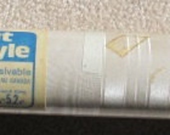 Vintage 70's Creamy White Stripe and Faux Wood Grain Pattern Solid Vinyl Wallpaper Roll - 1 unwrapped double roll - Home Decor - Wall Paper
