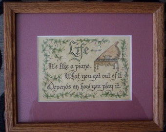 """Vintage """"Life It's Like a Piano"""" Folk Art Painting with Wooden Frame - Music - Inspiration - Wall Hanging - Home Decor - Graduation"""