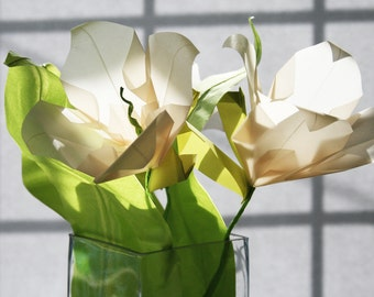 Wild Lilies Origami Flower Bouquet -  Paper Flower Bouquet - Translucent Glowing - Origami Bouquet