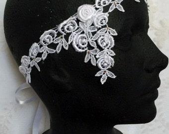 Wedding Flower Crown, Lace Flower Crown, Rose Headband, Bridal Flower Crown, White Headband, Rose Flower Crown, Flower Headband