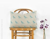 Decorative Pillow Case for Couch | 12x18 in / 30x45 cm Lumbar Cushion Cover | Hand Printed Graphic Bird Design in Dusty Aqua Blue and Beige
