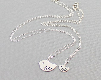 Mother & Daughter Necklace Set, Silver Bird Charm Necklaces, Family Keepsake Jewelry Best Friend Necklaces, Set Of Two, Mother Daughter Gift