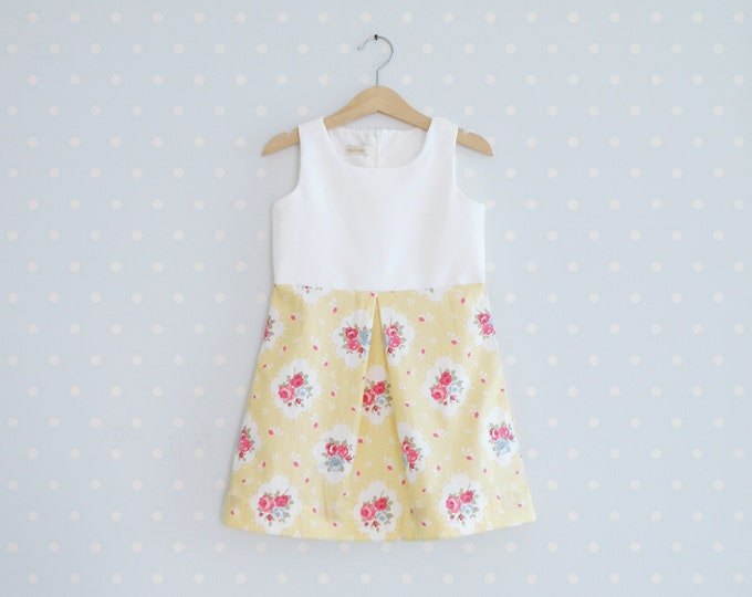 Vintage Inspired Girls Dress, Toddler Shabby Chic dress, Baby Yellow Floral Dresses, Summer baby dresses