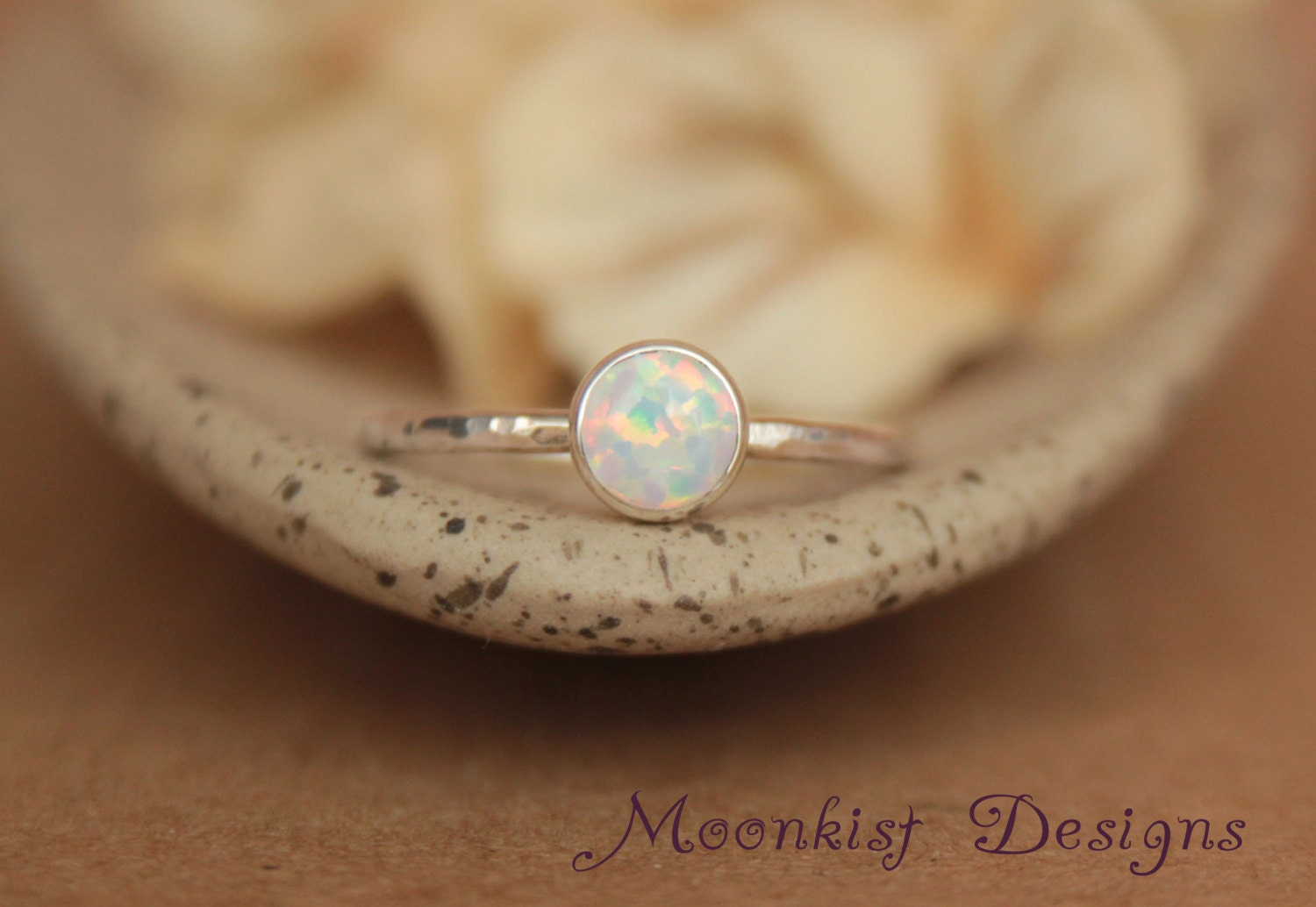 Delicate Opal Engagement Ring Opal Bezel Set Solitaire in
