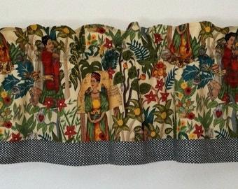 Kitchey Frida Kahlo Self Portrait Artsy Valance Grey