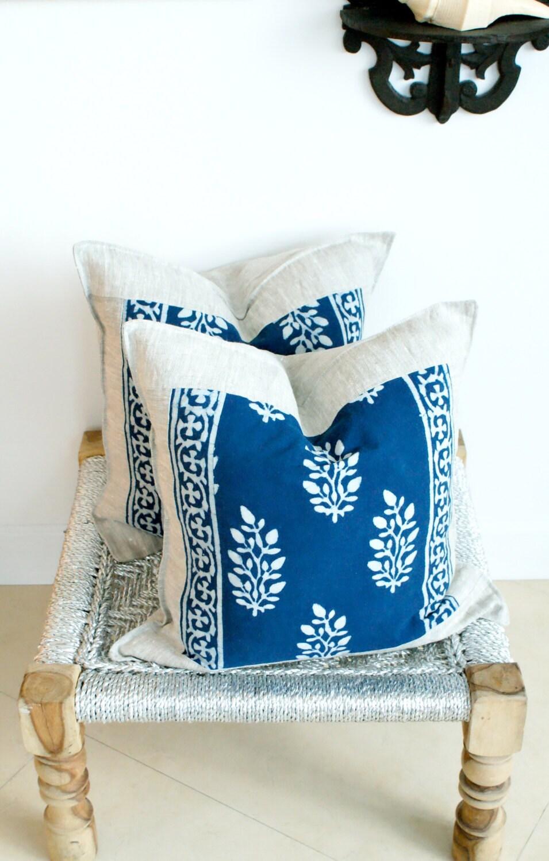 Indian Hand Block Print Throw Pillows Cushion Covers Organic
