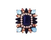 High Fashion Jet-setter Cocktail Ring Amber  Multicolor Flower Rhinestones on Brass-Tone Boho Chic Statement Ring Spring Summer 2015 Fashion
