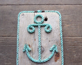 Rope Shaped Anchor Nautical Decor Wall Hanging Sign made with Reclaimed Wood