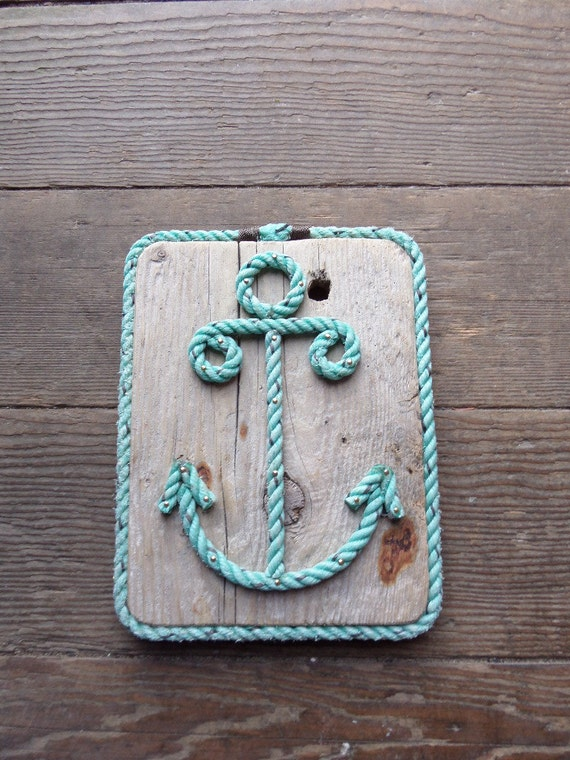Items similar to nautical decor rope anchor on reclaimed wood distressed stained or painted on etsy - Nautical rope decorating ideas ...